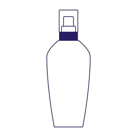 sun bronzer cosmetic bottle icon over white background, vector illustration Çizim