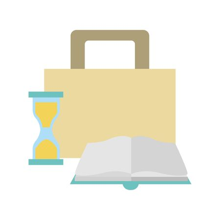 briefcase, hourglass and book over white background, vector illustration Stock Illustratie