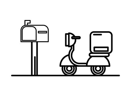 motorcycle vehicle with box packing postal service vector illustration design Stock Illustratie