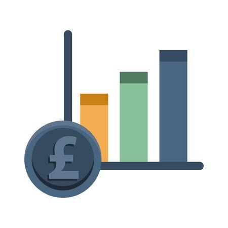 financial bars statistics graphic with pound sterling vector illustration design Illustration