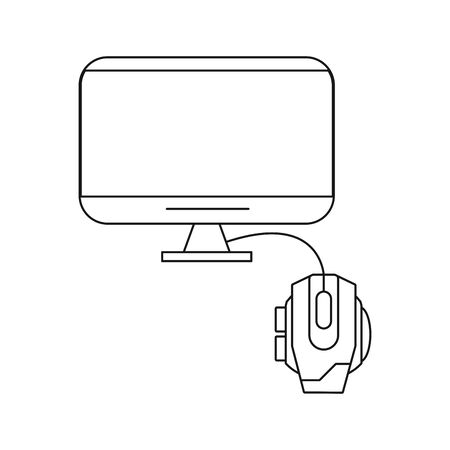 tv display device with mouse computer vector illustration design