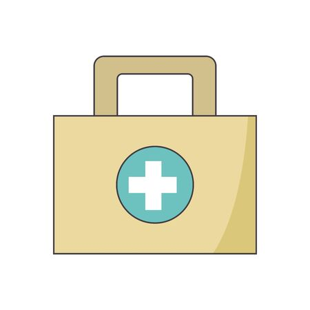 first aid kit icon over white background, vector illustration Ilustração