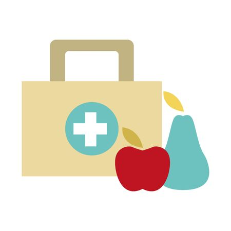 first aid kit and healthy fruits over white background, vector illustration
