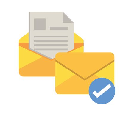 envelope mail with check symbol vector illustration design