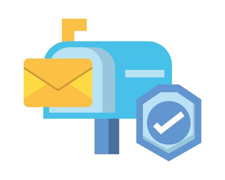 envelope mail in mailbox with check symbol vector illustration design 일러스트