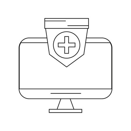 tv display device with shield vector illustration design