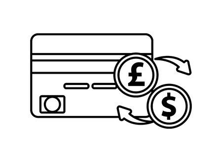 credit card with pound and dollar coins vector illustration design Illusztráció