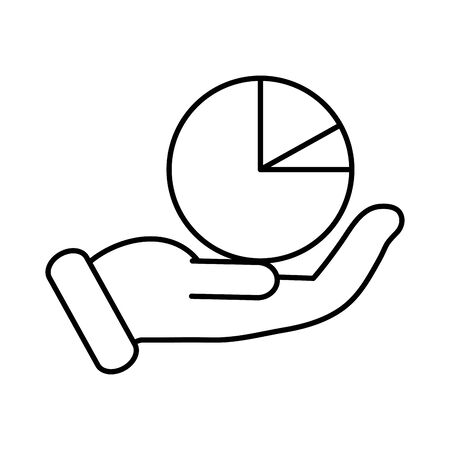 business hand lifting with statistics pie vector illustration design Vectores