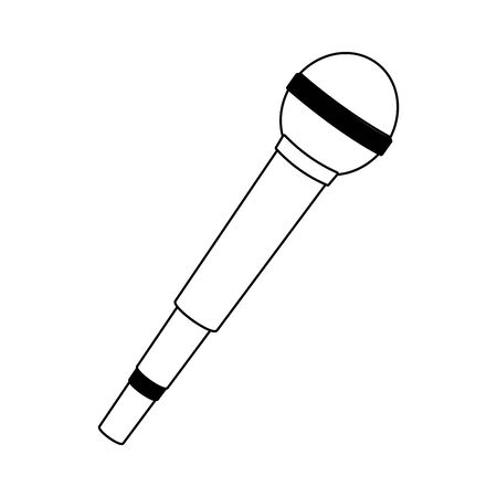 microphone icon over white background, flat design , vector illustration Ilustração