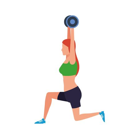 avatar girl lifting weights icon over white background, vector illustration Stock Illustratie