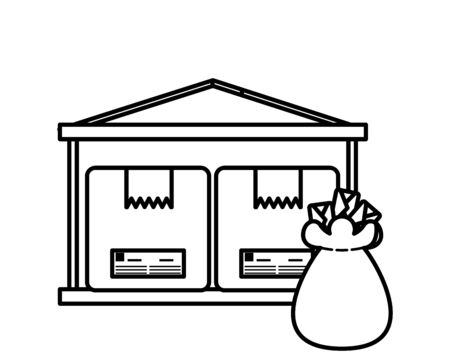 warehouse with boxes and envelopes bag vector illustration design Ilustração