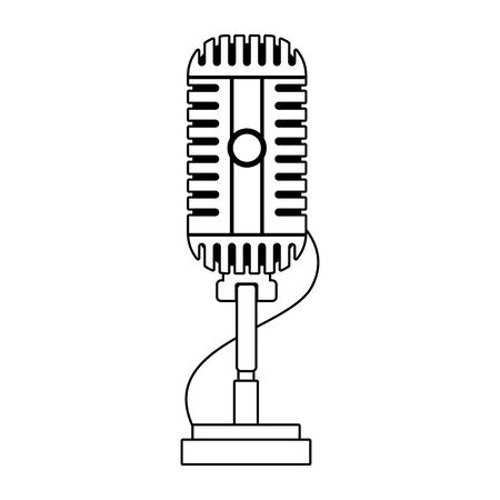 retro microphone with cord icon over white background, flat design , vector illustration Ilustração