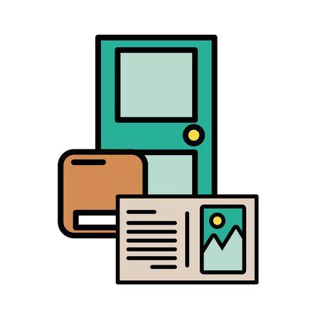 door with box carton packing postal service vector illustration design