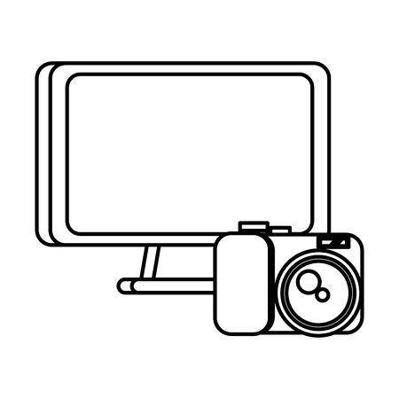desktop computer display with camera photographic vector illustration design