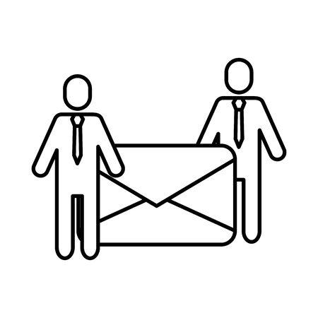 team work avatars with envelope mail vector illustration design