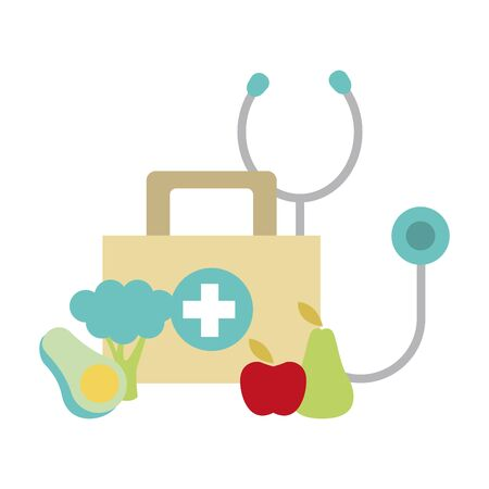 stethoscope, first aid kit and healthy fruits and vegetables icon over white background, vector illustration