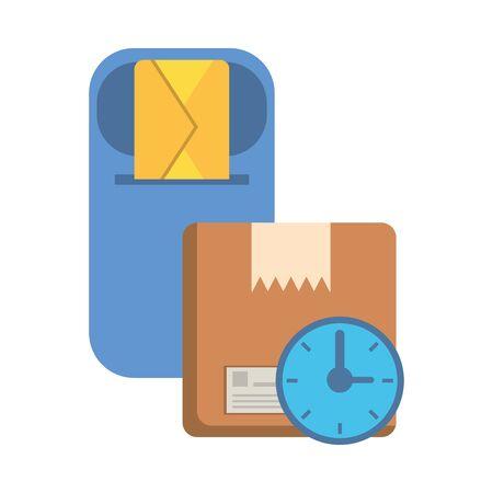 watch with box carton postal service vector illustration design
