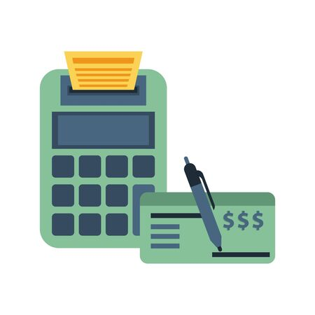 calculator math with check banknote vector illustration design