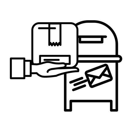 hand lifting box carton packing postal service vector illustration design