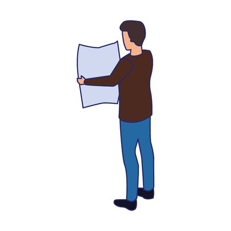 man reading a newspaper over white background, vector illustration