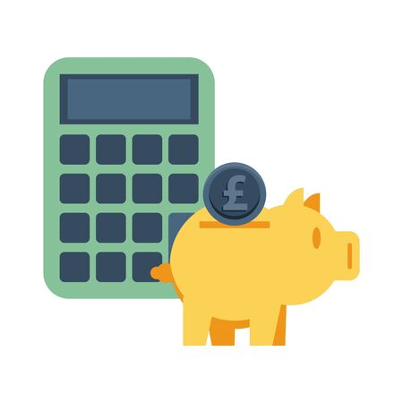 piggy savings money with calculator and sterling pound vector illustration design