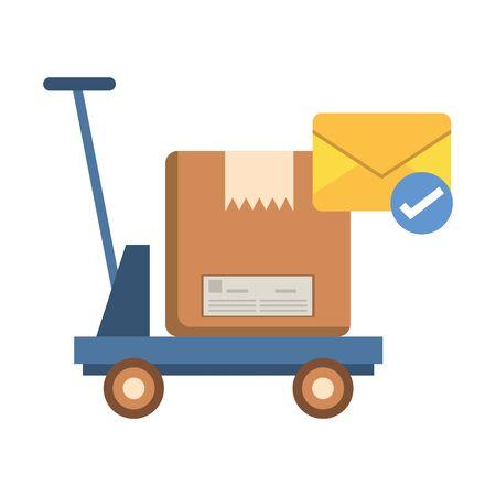 cart with box carton postal service vector illustration design