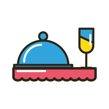 tray server menu with wine cup vector illustration design