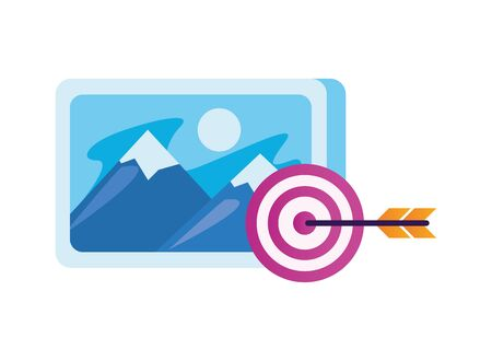 target arrow success with picture file vector illustration design