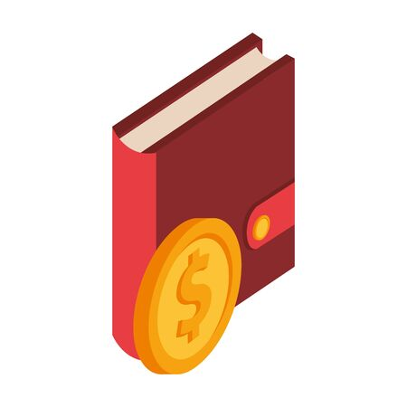 diary with coin dollar isolated icon vector illustration design