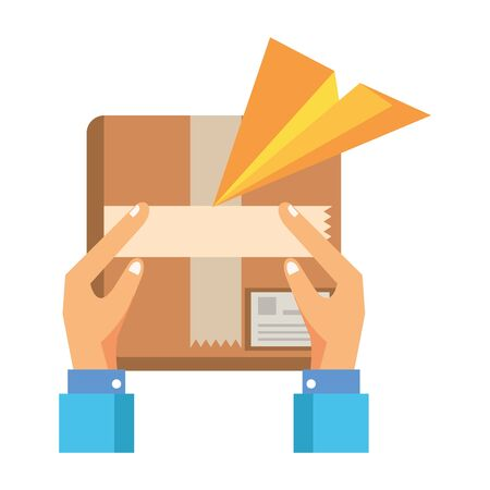 hands lifting box packing postal service vector illustration design