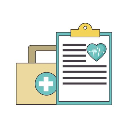 first aid kit and medical report over white background, colorful design, vector illustration