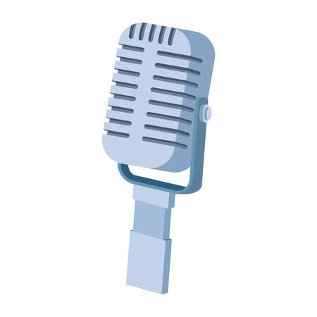 retro microphone icon over white background, flat and colorful design, vector illustration