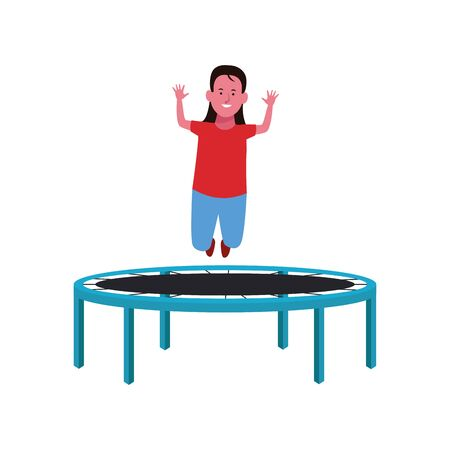 happy girl jumping on trampoline over white background, vector illustration