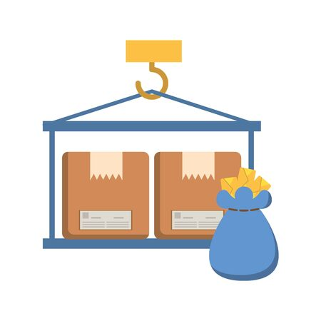 crane hook lifting boxes cartons vector illustration design Ilustração