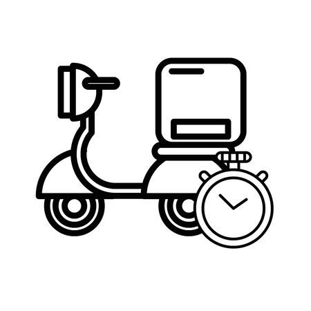 motorcycle vehicle with box packing postal service vector illustration design Ilustração