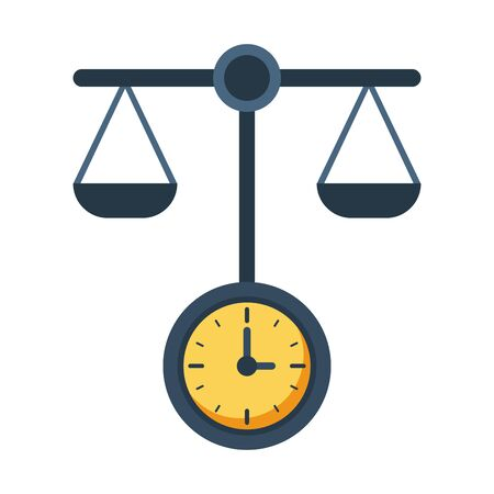 time clock watch with equality balance vector illustration design