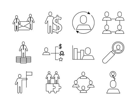 bundle of business success icons vector illustration design Illustration