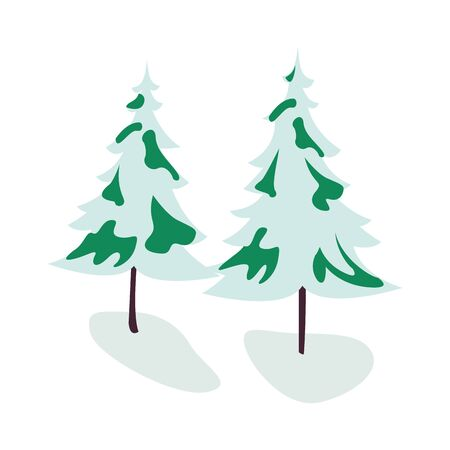 trees pines with snow icons vector illustration design