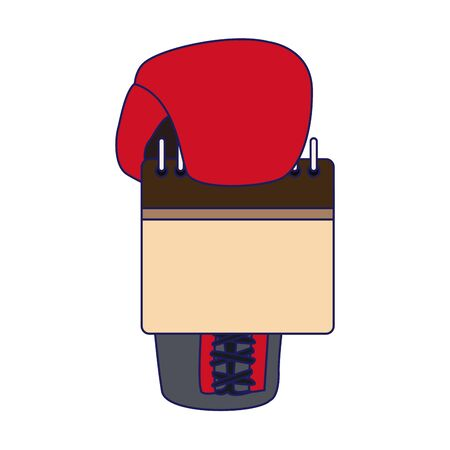 boxing glove with blank calendar over white background, vector illustration