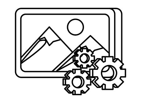 gears settings setup with picture file vector illustration design