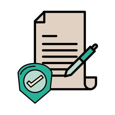 checklist document paper with pen supply vector illustration design Ilustração