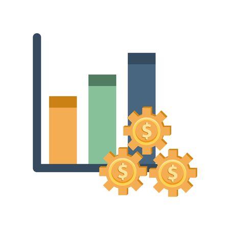 financial statistics bars with dollars gears vector illustration design