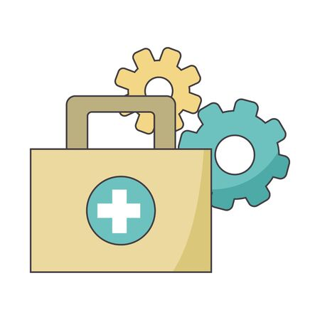 gear wheels and first aid kit over white background, colorful design, vector illustration
