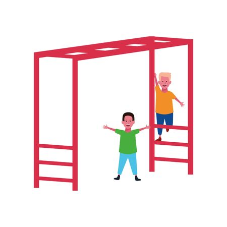 happy boys playing on a Horizontal Ladder Playground icon over white background, vector illustration Illusztráció