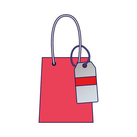 shopping bag with tag icon over white background, vector illustration