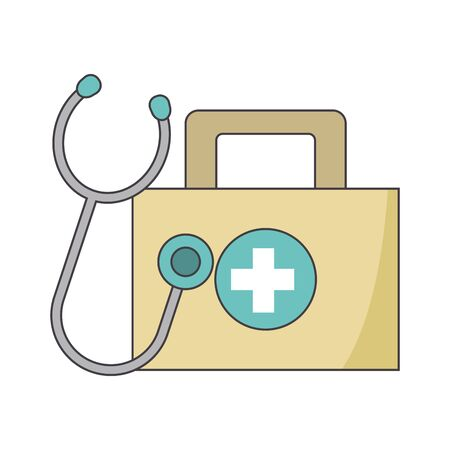 first aid kit and stethoscope icon over white background, vector illustration