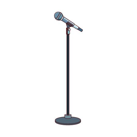 microphone stand icon over white background, colorful design , vector illustration Ilustração