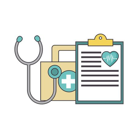 first aid kit, medical report and stethoscope over white background, vector illustration Ilustração