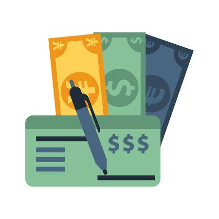 dollar with euro and yen bills vector illustration design