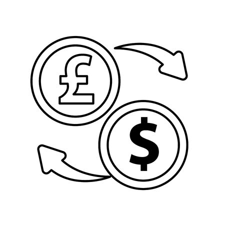 dollar and sterling pound coins icons vector illustration design